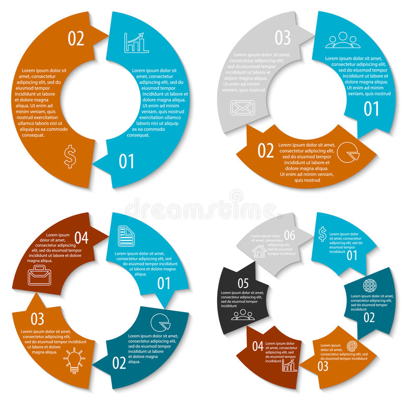Set of round infographic diagram with arrows. Circles of 2, 3, 4, 6 elements. Vector EPS10. Set of round infographic diagram with arrows. Circles of 2, 3, 4, 6 stock illustration