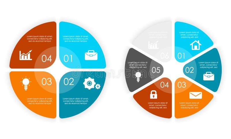 Set round infographic diagram Okręgi elementy lub kroka 4 i 6 eps10 kwiatów pomarańcze wzoru stebnowania rac ric zaszywanie pasko ilustracja wektor
