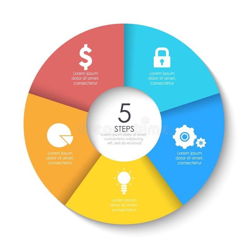 Set round infographic diagram Okręgi 5 kroków lub elementy ilustracji
