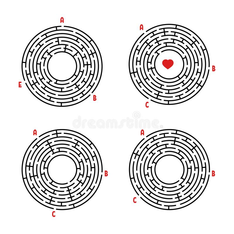Set round labirynty gemowi dzieciaki Łamigłówka dla dzieci Labitynt zagadka Płaska wektorowa ilustracja odizolowywająca na białym ilustracja wektor