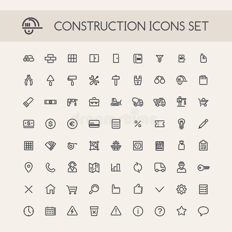 Set of Round Line Construction Icons vector illustration