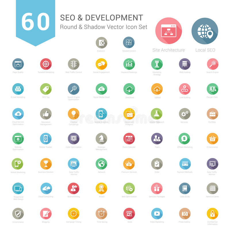 Set of Round Long Shadow SEO and Development icons. Vector Illustration vector illustration