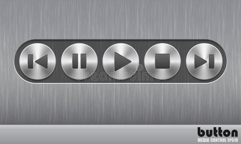 Set round metalu guzik z oczyszczoną teksturą i podstawowymi audio symbolami ilustracji