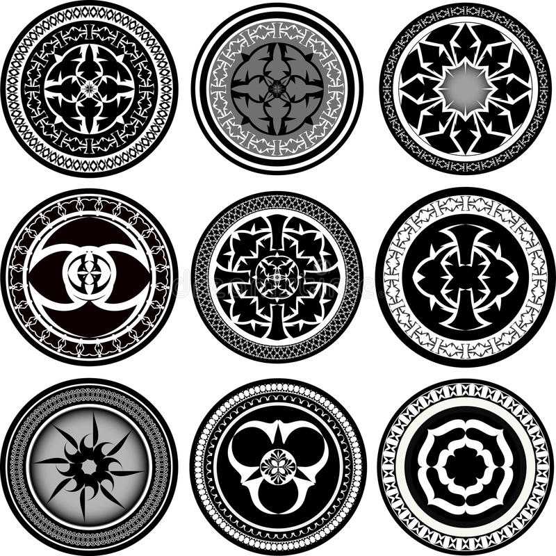 set of round ornament pattern stock vector illustration of ornate symbol 58414681. Black Bedroom Furniture Sets. Home Design Ideas