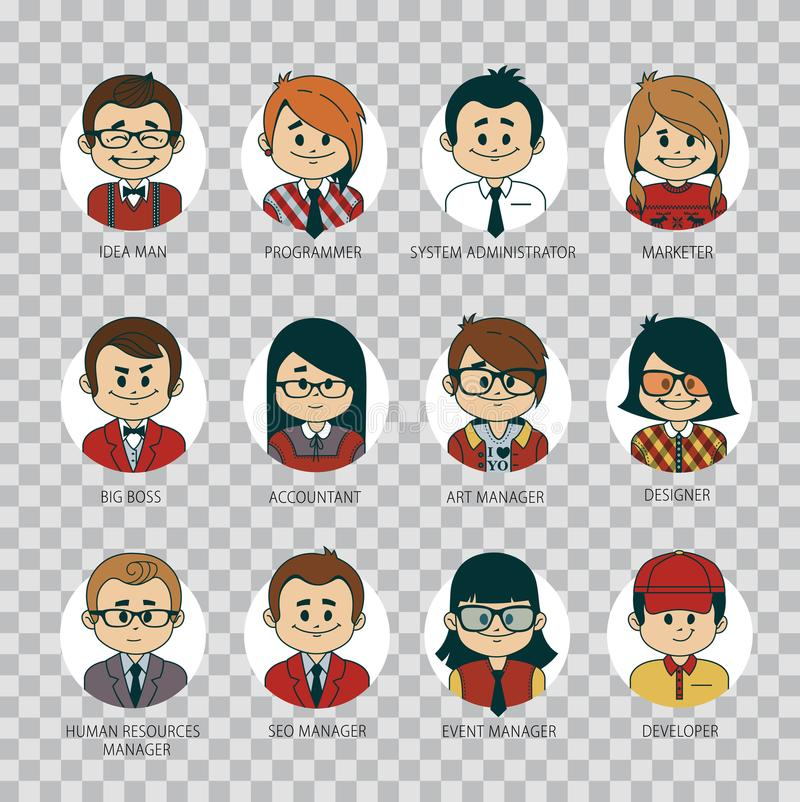Download Set Of Round People Icons Your Office Team. Collection Of  Professions In IT Company