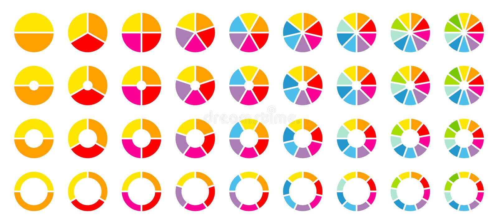 Set Of Round Pie Charts Color vector illustration