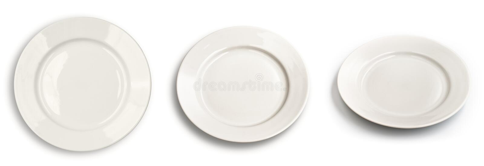 Download Set Of Round Plates Isolated On White  Top View Stock Image - Image: 15307029