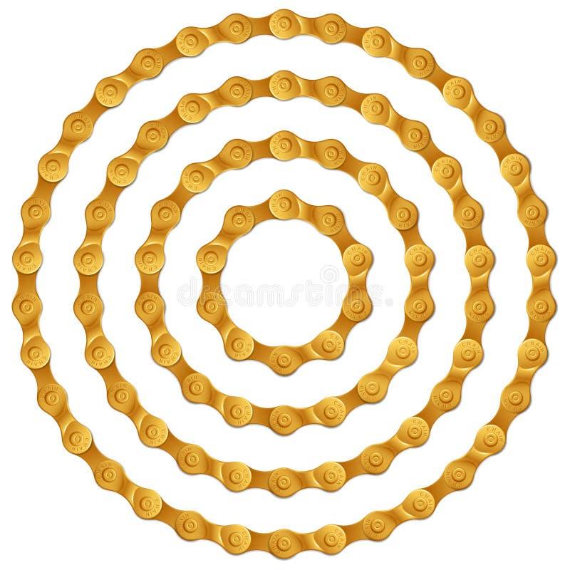 Set round ramy robić złoty metalu bicyklu łańcuch na bielu, odosobniony royalty ilustracja