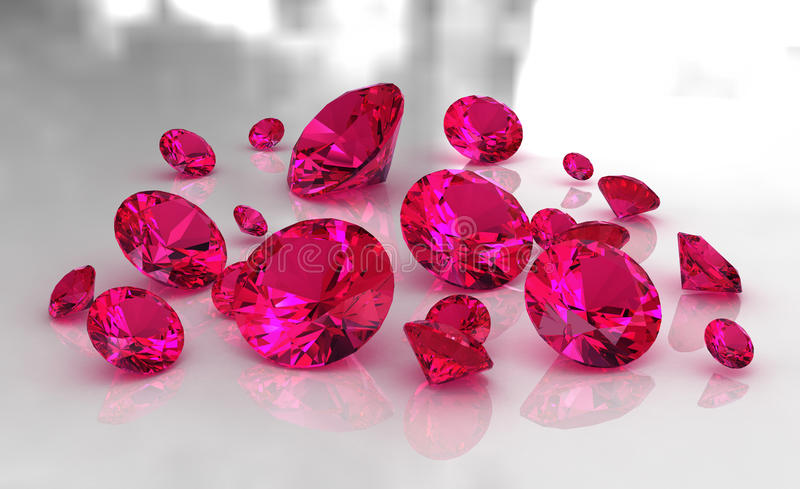 Set of round red ruby stones on glossy surface. 3D royalty free illustration