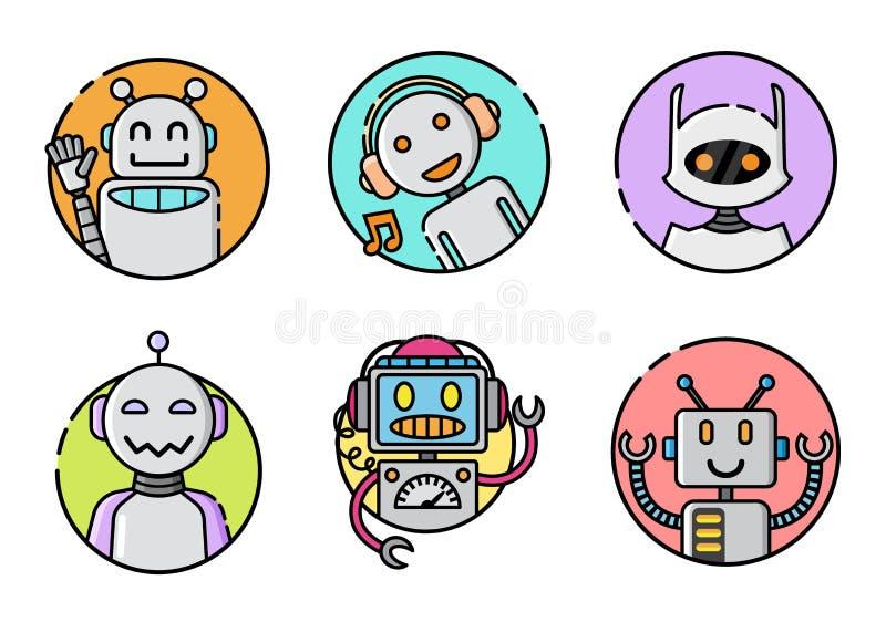 Set round robot ikona na białym tle royalty ilustracja