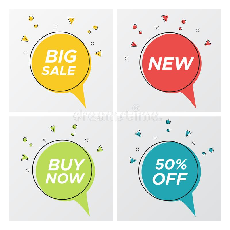 Set of 4 round sale bubbles with confetti burst royalty free illustration