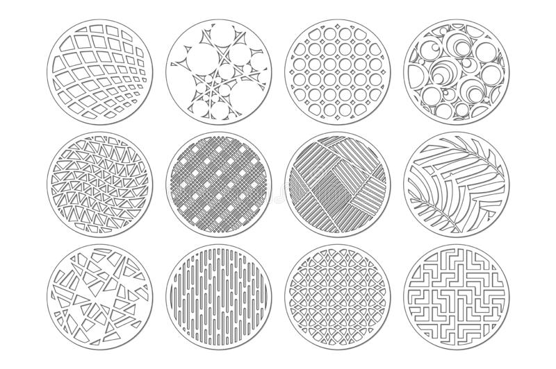 Set round template for cutting. Abstract line, geometric pattern. Laser cut. Set ratio 1:2. Vector illustration.  stock illustration