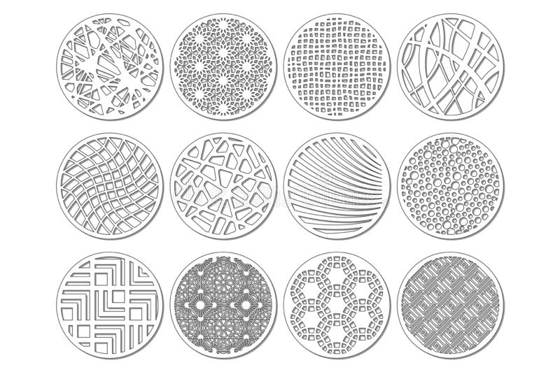 Set round template for cutting. Abstract line, geometric pattern. Laser cut. Set ratio 1:2. Vector illustration.  royalty free illustration