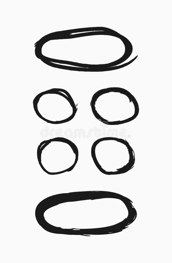 Set of round thin frames drawn by hand. Collection of grunge borders. Sketch, paint, watercolor. stock illustration