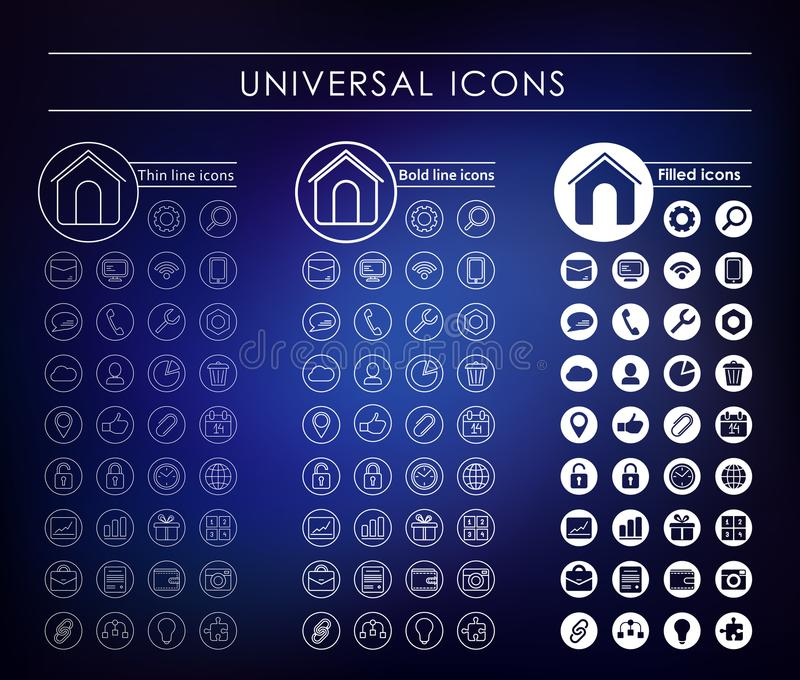 A set of universal white icons vector illustration