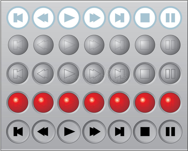 A set of round vector media buttons. A set of round glossy vector media buttons vector illustration