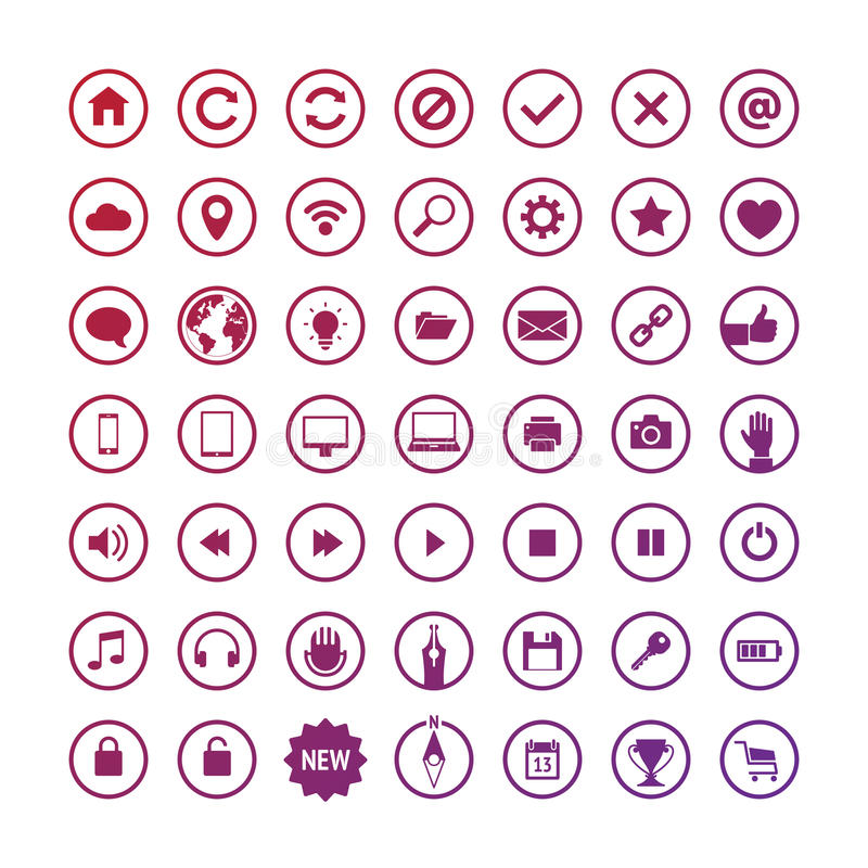 Set of Round Web Icons. Set of Vector Round Web Icons. Flat Design vector illustration