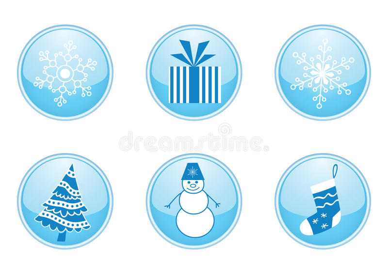 Download Set Of Round Winter Buttons Stock Illustration - Image: 12062497