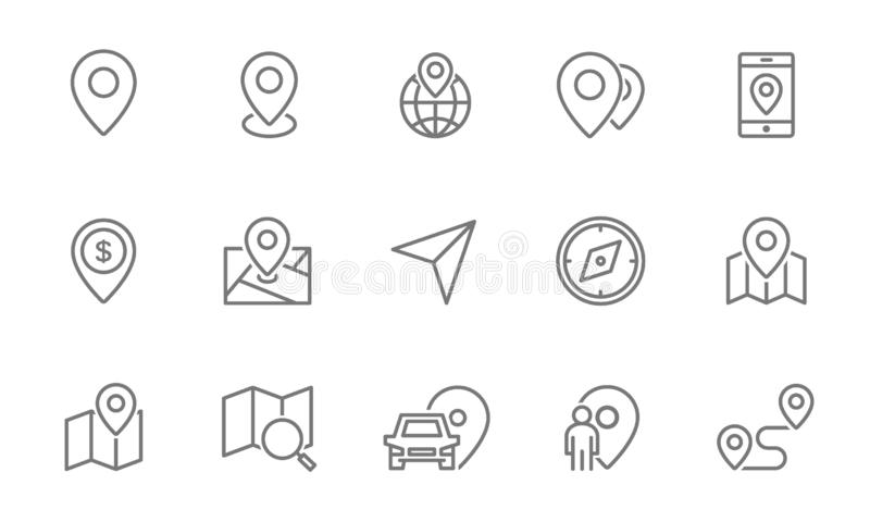 Set of route and navigation line icons. Map pointer, gps, compass, parking pin, direction and more. royalty free illustration