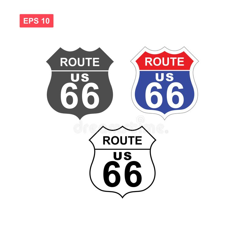 Set of route us 66 vector design isolated royalty free illustration