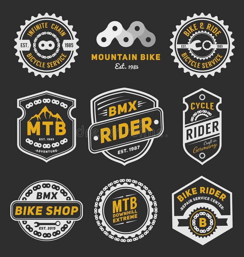 Set rowerowy odznaka loga szablonu projekt ilustracji