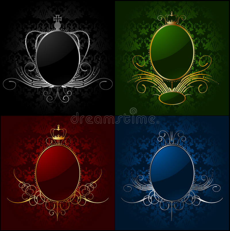 Set royal backgrounds with frame. Vector royalty free illustration