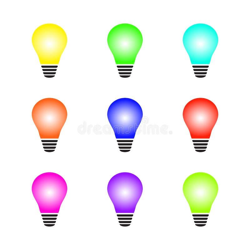 Set rozjarzona kolorowa żarówka jako inspiracji pojęcie również zwrócić corel ilustracji wektora ilustracja wektor