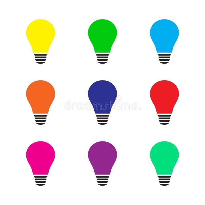 Set rozjarzona kolorowa żarówka jako inspiracji pojęcie również zwrócić corel ilustracji wektora mieszkanie ilustracja wektor