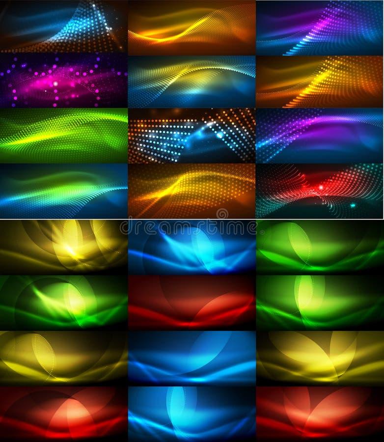 Set rozjarzony neonowy techno kształtuje, abstrakcjonistyczna tło kolekcja Wektorowe futurystyczne magii przestrzeni tapety ilustracja wektor