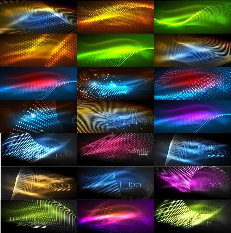 Set rozjarzony neonowy techno kształtuje, abstrakcjonistyczna tło kolekcja Wektorowe futurystyczne magii przestrzeni tapety ilustracji