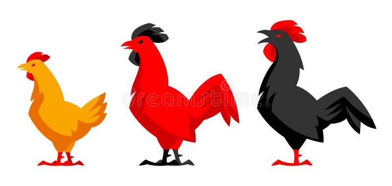Set rozmaitość kurczaka sylwetki ilustracji