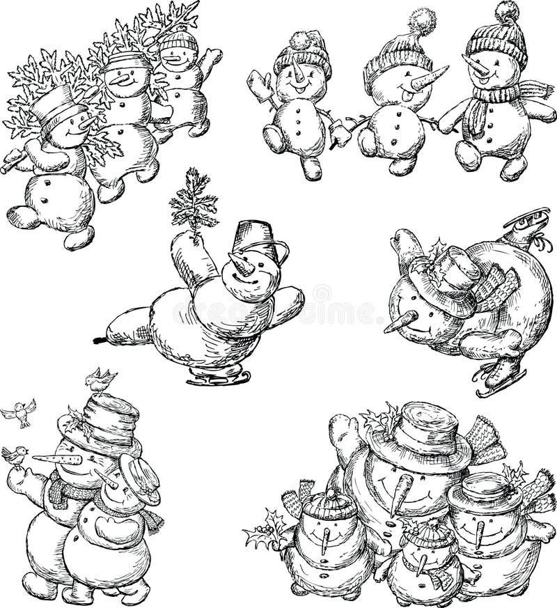 Set rozochoceni kreskówka bałwany royalty ilustracja