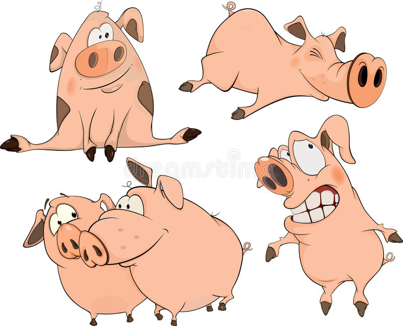 Set rozochocona świni kreskówka ilustracja wektor