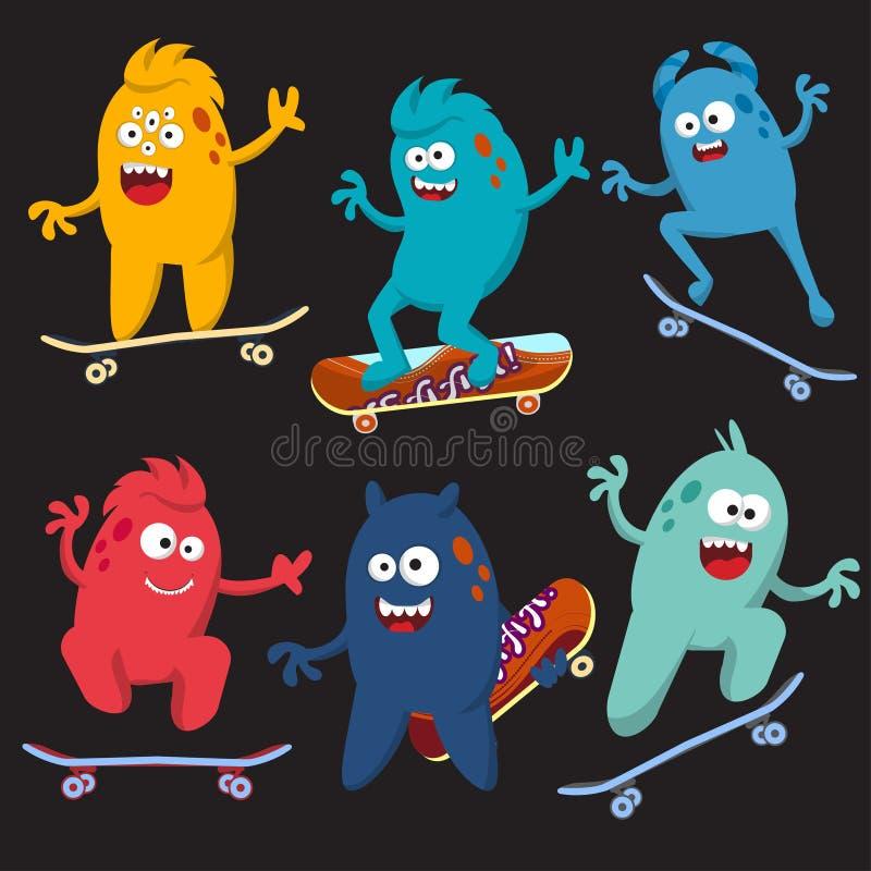 Set rozochocony i kolorowy kreskówka potwór który jedzie jeździć na deskorolce wektor obrazy stock