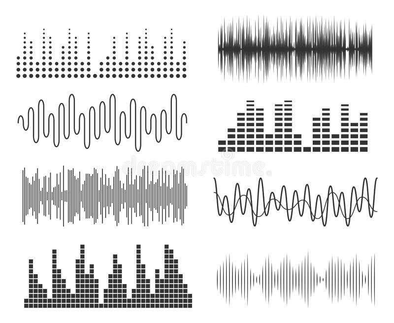 Set rozsądne muzyczne fala Audio technologii dźwięka lub pulsu muzykalne mapy Muzyczny waveform wyrównywacz ilustracja wektor