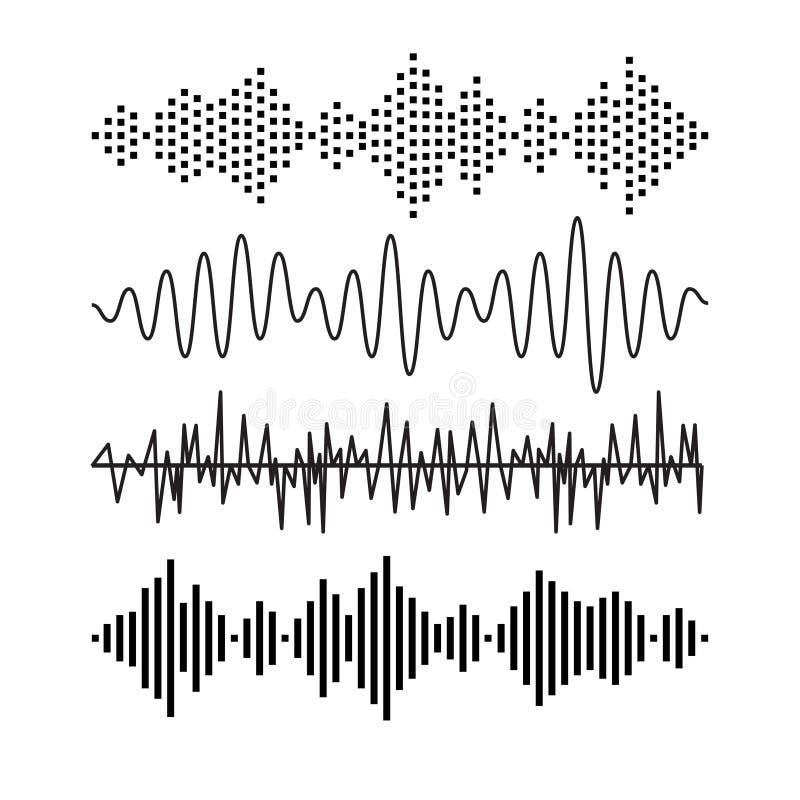 Set rozsądny audio macha muzykę EQ melodii muzykalna technologia Dokumentacyjny wektor Muzykalna falowa forma Rocorder melodii dź royalty ilustracja
