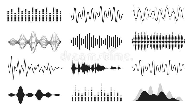 Set rozs?dne fala Analogowej i cyfrowej linii waveforms Muzykalne rozsądne fale, wyrównywacz i magnetofonowy pojęcie, obraz royalty free