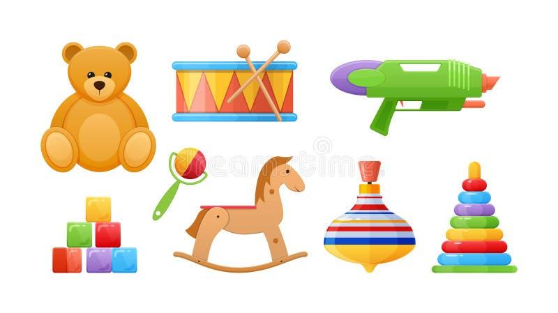 Set rozwija barwionego dziecka ` s piękna logika bawi się royalty ilustracja
