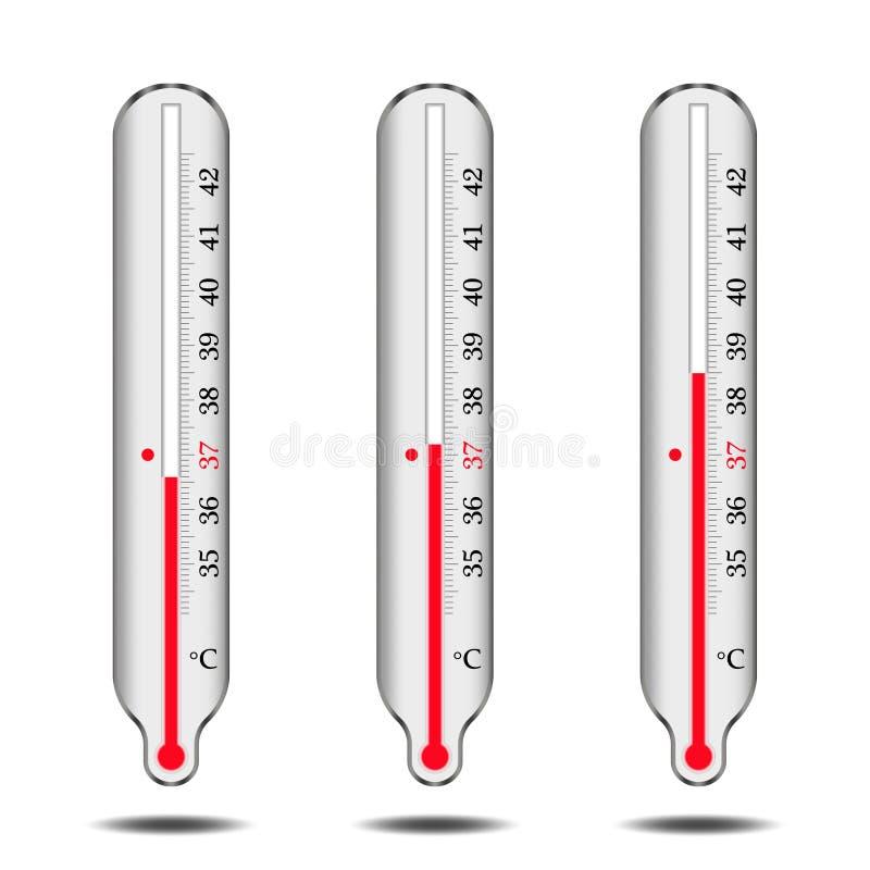 Set rtęć termometry royalty ilustracja