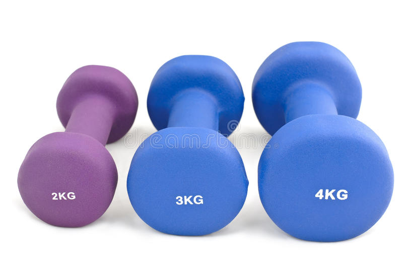 Set of rubber-dipped dumbbells royalty free stock image