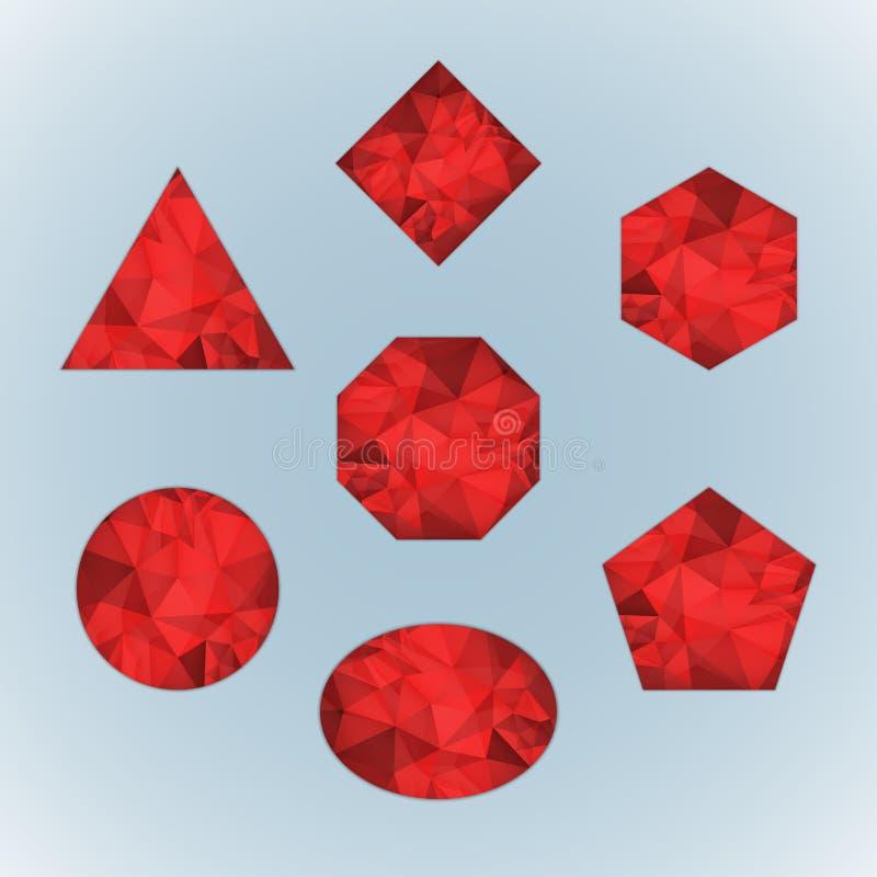 Set of ruby. Isolated on light blue background royalty free illustration