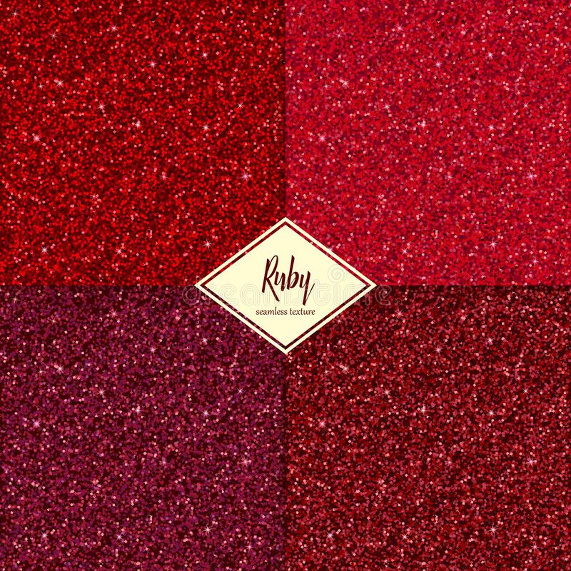Set of ruby texture. Set of ruby sparkles texture with shine, glossy confetti, glitter background. Vector illustration seamless pattern, glamour style for your vector illustration
