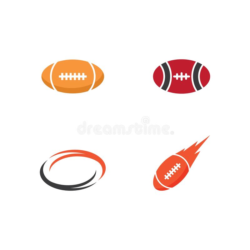 Set of Rugby ball logo. Icon vector template, outline, tournament, soccer, logotype, target, kick, champion, old, challenge, usa, athletic, championship, club stock illustration