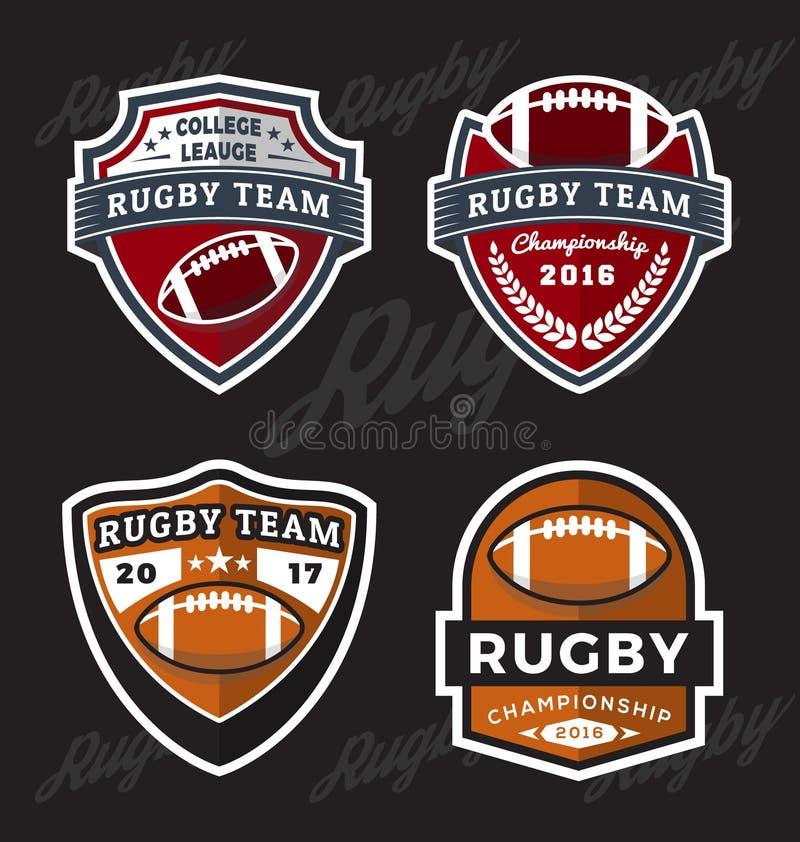 Set rugby i futbolu loga szablon royalty ilustracja