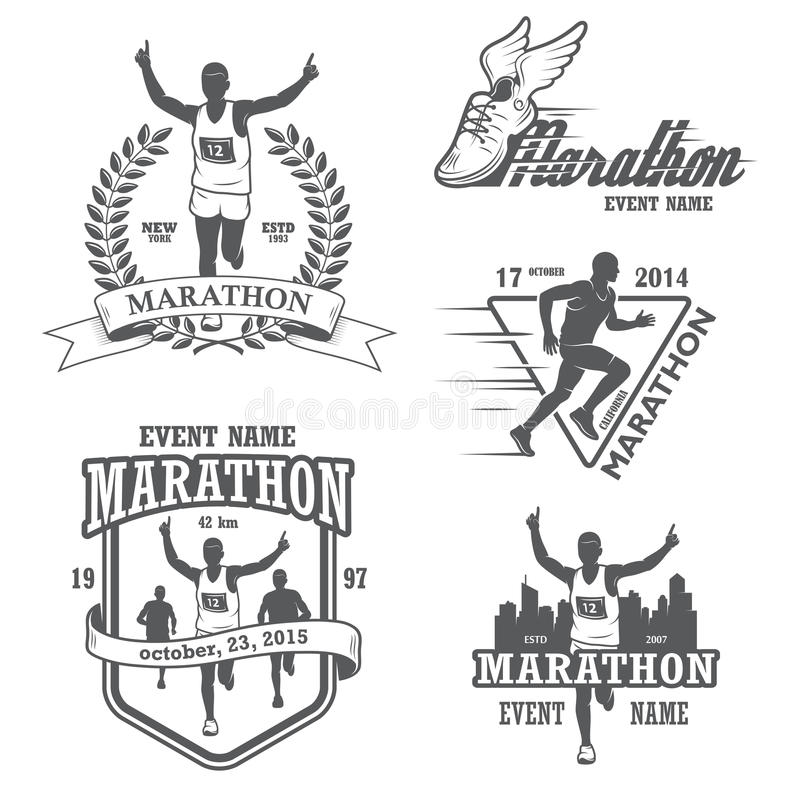 Set of running marathon and jogging emblems royalty free illustration