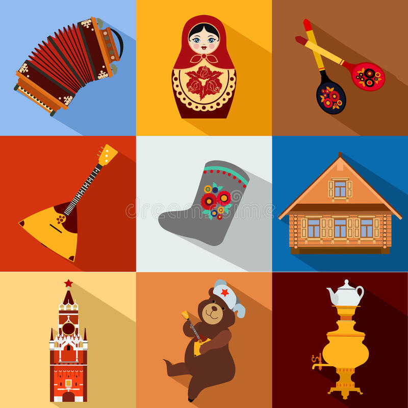 Set of Russia travel colorful flat icons, Russian vector illustration