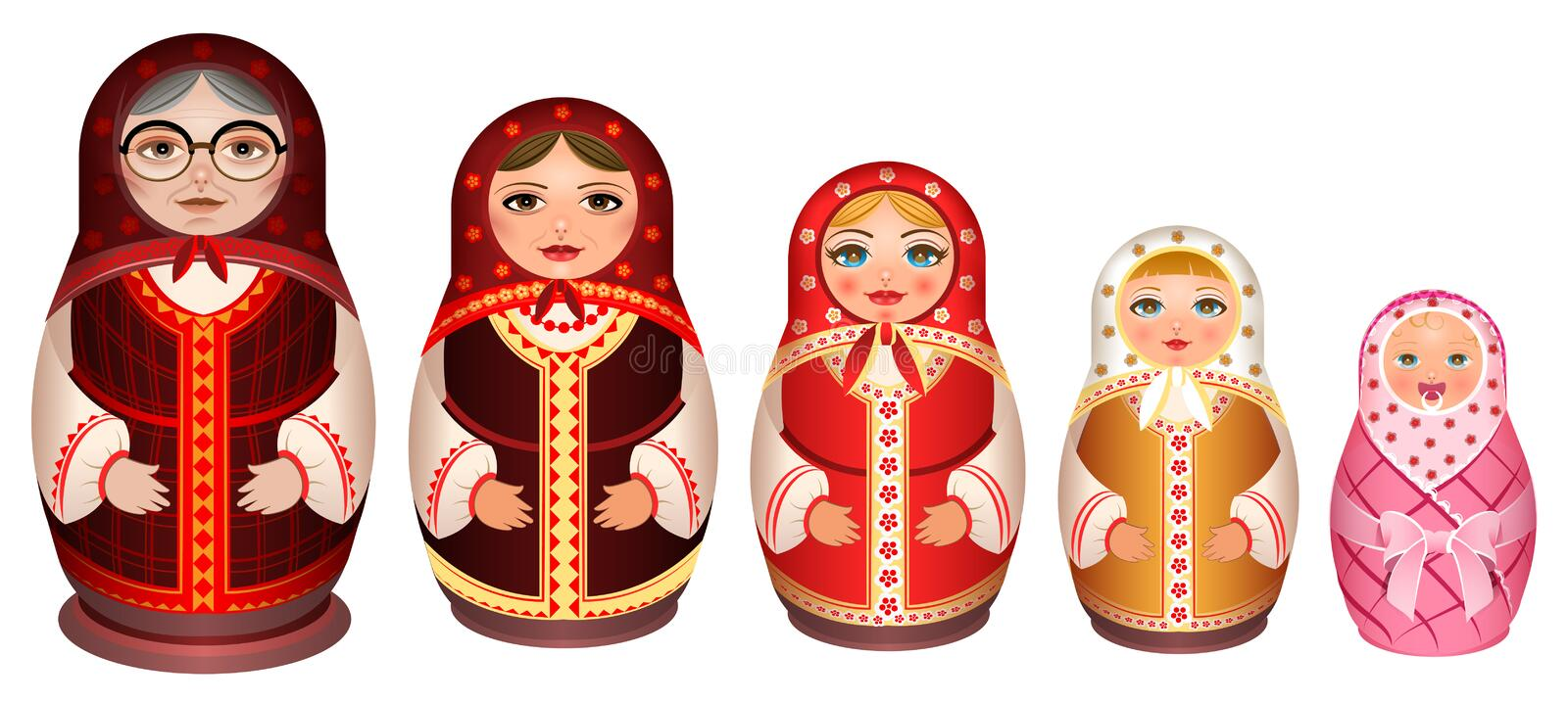 Set russian wooden nesting doll. Traditional retro souvenir from Russia vector illustration