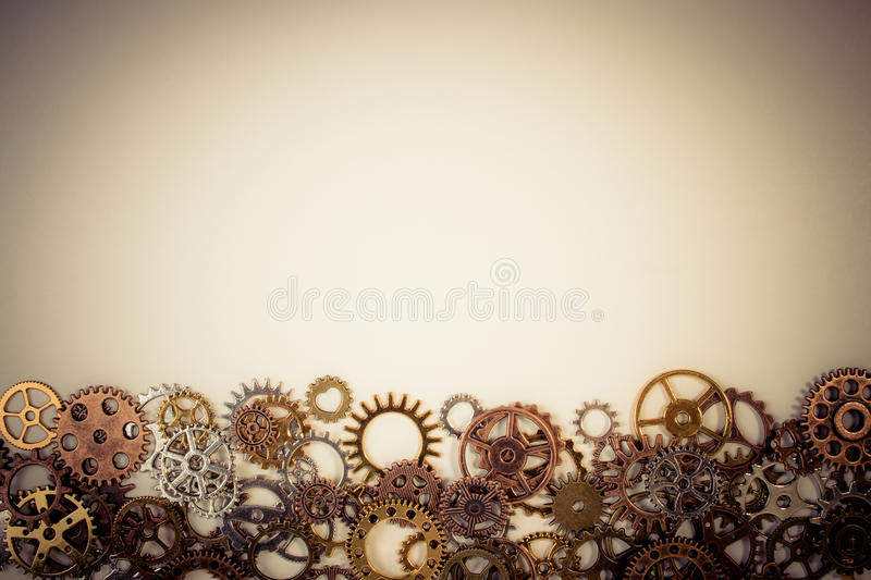 Set of rusty metal gears or cogs gear on a white background. royalty free stock images