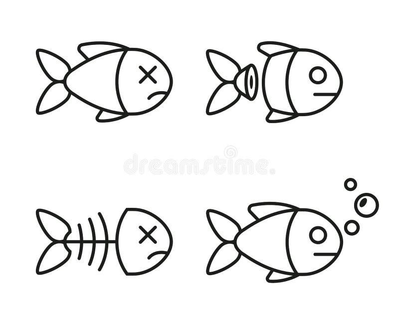 Set rybie ikony nieżywa i żywa ryba royalty ilustracja