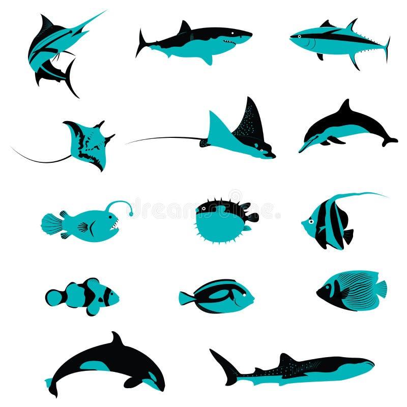 Set Rybie Podwodne Nadwodne Shell istot i zwierząt ikony ilustracja wektor